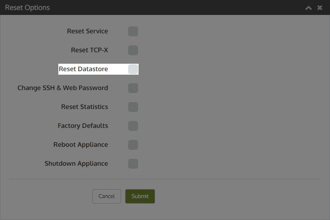 resetoptions resetdatastore