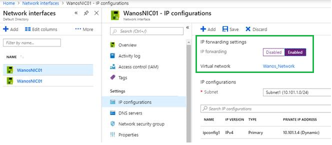 SD-WAN Azure IP Forwarding